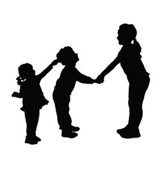 Children playing and pulls the hair silhouette vector