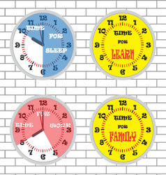 Clock time concept set brick wall vector image vector image