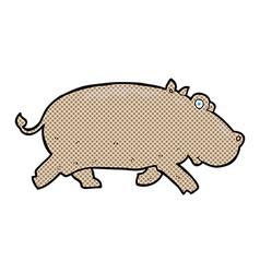 Comic cartoon hippopotamus vector