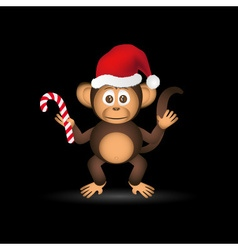 cute chimpanzee little monkey with santa hat eps10 vector image