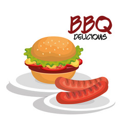 Delicious burger and sausages bbq menu vector