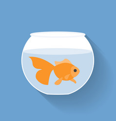 Gold fish in bowl vector