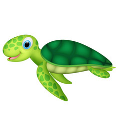 happy baby sea turtle vector image vector image