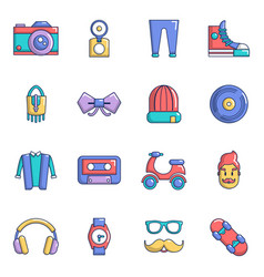 Hipster symbols icons set cartoon style vector