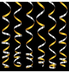 holiday silver serpentine ribbons set vector image
