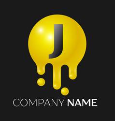 J letter splash logo yellow dots and bubbles vector