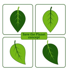 leaf green icons vector image