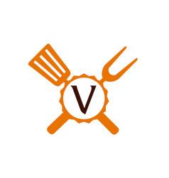 Logo restaurant letter v vector