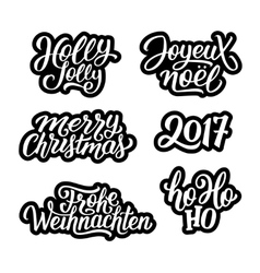 Merry christmas labels set vector