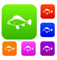 Rose fish sebastes norvegicus set collection vector