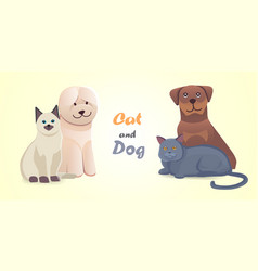 set cat and dog together cartoon characters vector image vector image