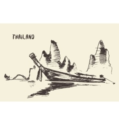 Sketch traditional longtail boat thailand vector