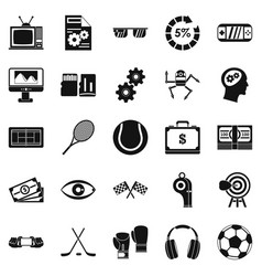 video transmission icons set simple style vector image