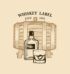 whiskey logolabel with vector image vector image