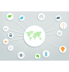 World map 3d circle links with clean energy icons vector