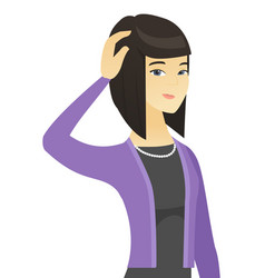 young asian business woman scratching her head vector image vector image