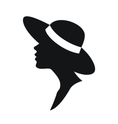 Young woman head silhouette in a hat vector image