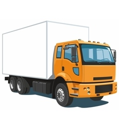 Orange commercial truck vector