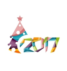 2017 christmas and new year geometric banner vector