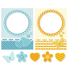 Fabric scrapbook set vector