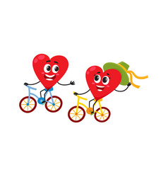 two hearts cycling together riding bicycles vector image