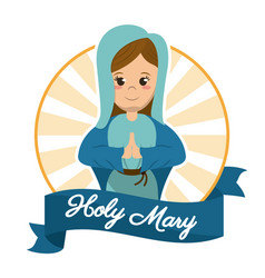 Holy mary prayer religious sanctified image vector