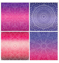 Set of cards with indian mandala on bright violet vector