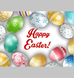 Easter greeting card with color eggs vector