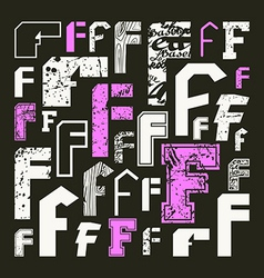 Set versions of letters f vector