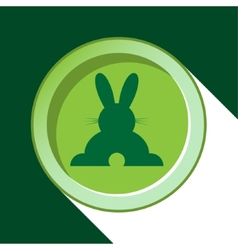 Button with dark green back easter bunny and vector