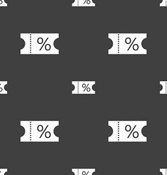 Ticket discount icon sign seamless pattern on a vector