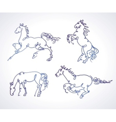Set of sketches of horses vector