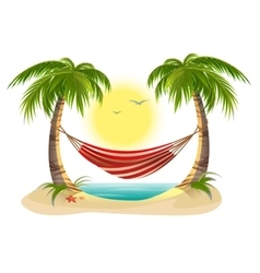 Beach vacation hammock between palm trees vector