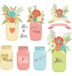 Wedding flower mason jar vector