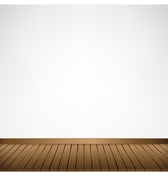 Brown wood floor texture and white wall background vector