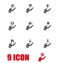 Grey insurance hand icon set vector