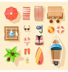 Beach accessories top view icons collection vector