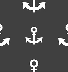 Anchor icon sign seamless pattern on a gray vector