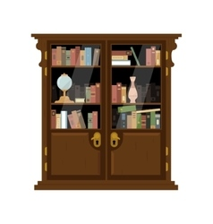 Antique wooden cupboard with books vector