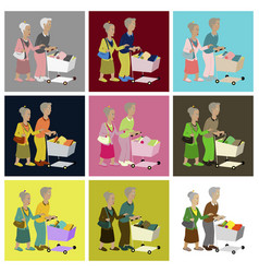 assembly flat icons pensioners with a trolley vector image vector image