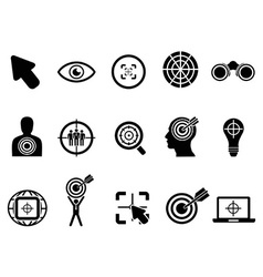 Black target icons set vector
