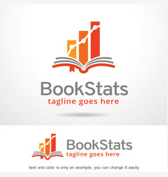 book stats logo template design vector image