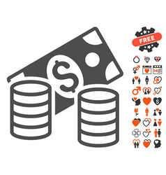 cash icon with valentine bonus vector image vector image