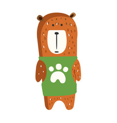 Cute brown teddy bear in green vest standing vector