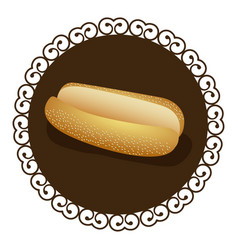 Decorative frame with realistic picture bread for vector