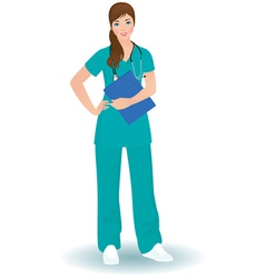 Doctor woman in a full length on a white backgroun vector