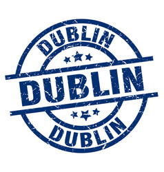 Dublin blue round grunge stamp vector