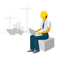 Engineer work with laptop on construction site vector