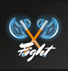 Fight element with crossed medieval hatchets vector