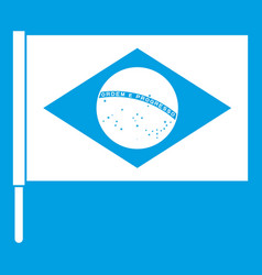 flag of brazil icon white vector image vector image